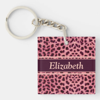 Pink Leopard Skin Pattern Personalize Double-Sided Square Acrylic Key Ring