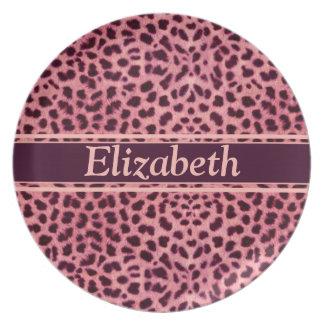 Pink Leopard Skin Pattern Personalize Plate