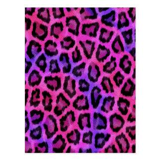 Pink Leopard Skin Print Postcard