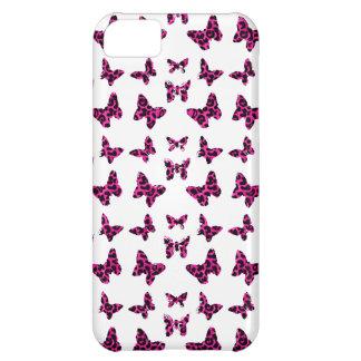 Pink Leopard Spots Butterflies Pattern iPhone 5C Case