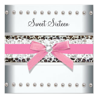 Pink Leopard Sweet Sixteen Birthday Party 13 Cm X 13 Cm Square Invitation Card
