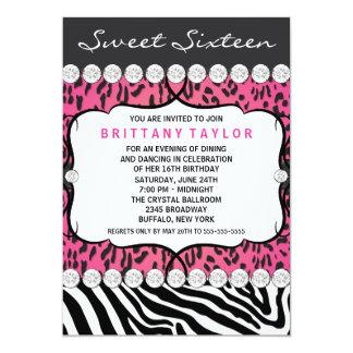 Pink Leopard Zebra Sweet 16 Party 13 Cm X 18 Cm Invitation Card