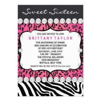 Pink Leopard Zebra Sweet 16 Party Custom Invitation
