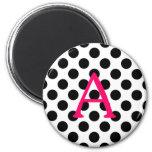 Pink Letter A on Black Polka Dots