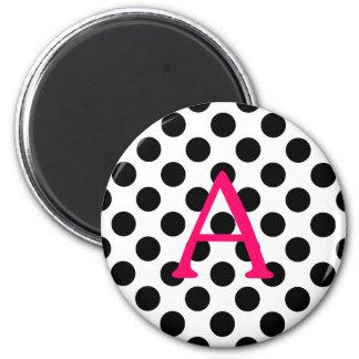 Pink Letter A on Black Polka Dots Magnet