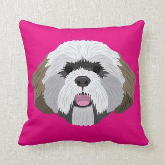 Pink Lhasa Apso Throw Pillow