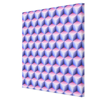 Pink & Light Blue Shaded 3D Look Cubes Stretched Canvas Print