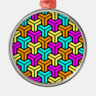 Pink, Light Blue, Yellow, Orange Geometric Pattern Christmas Ornament