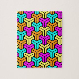 Pink, Light Blue, Yellow, Orange Geometric Pattern Jigsaw Puzzle