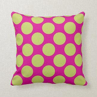 Pink Light Green Polka Dots Throw Pillow Decor