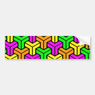 Pink, Light Green, Yellow Orange Geometric Pattern Bumper Sticker