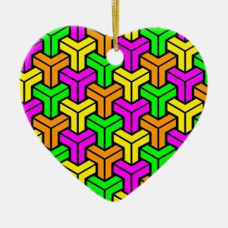 Pink, Light Green, Yellow Orange Geometric Pattern Christmas Ornament