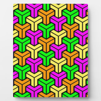 Pink, Light Green, Yellow Orange Geometric Pattern Plaque