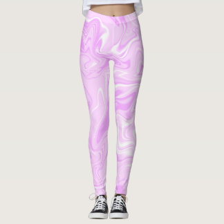 Pink light pastel marble abstract effect leggings. leggings