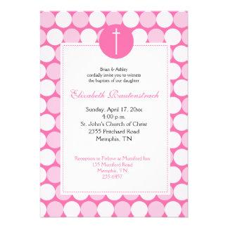 Pink Light Pink Modern Dot Baptism Invitation