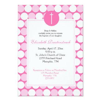 Pink / Light Pink Modern Dot Baptism Invitation