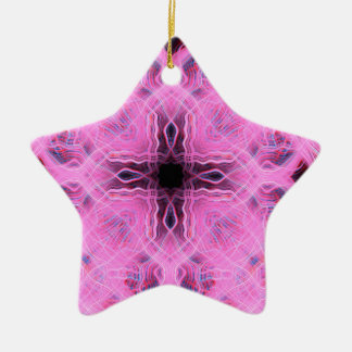 Pink light trails pattern ceramic star decoration