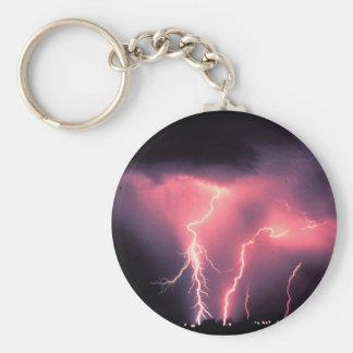 Pink lightning basic round button key ring