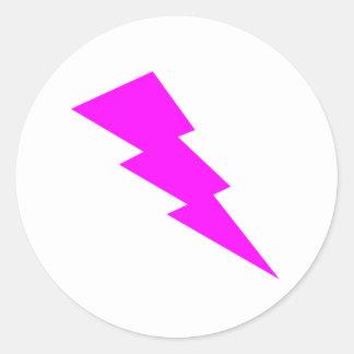 Pink Lightning Classic Round Sticker