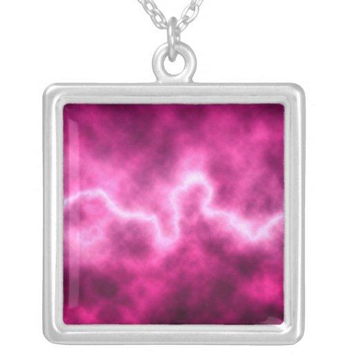 Pink Lightning Necklace (square)