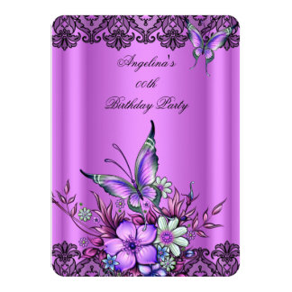 Pink Lilac Butterfly Floral Black Lace Birthday 4.5x6.25 Paper Invitation Card
