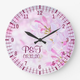 Pink lilac flowers large clock