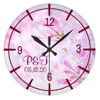 Pink lilac flowers stylish clock