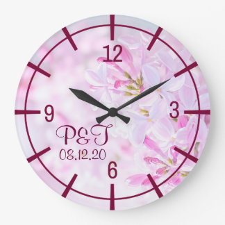 Pink lilac flowers stylish large clock