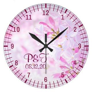 Pink lilac flowers wall clocks