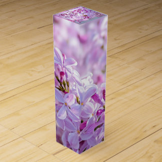 Pink lilac flowers wine gift box
