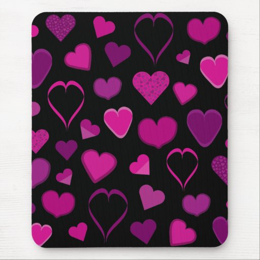 Pink & lilac hearts mousepad