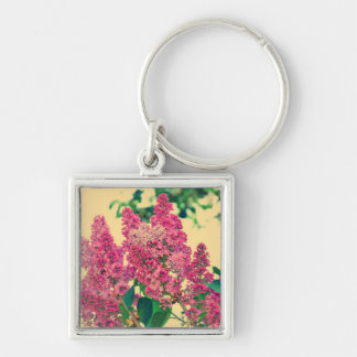 Pink lilac Silver-Colored square key ring