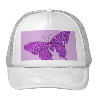 Pink Lilac Sparkle Glitter Butterfly Girly Stuff Trucker Hat