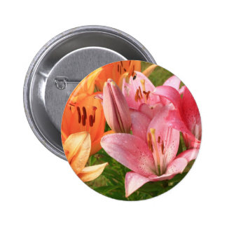 pink lilies 6 cm round badge