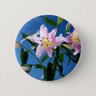 Pink Lilies 6 Cm Round Badge