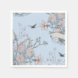 Pink Lilies and Roses on Blue Cocktail Napkin Paper Napkin