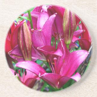 Pink Lilies Beverage Coaster