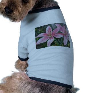 Pink lilies doggie tshirt