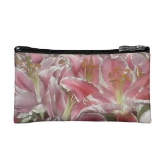 Pink Lilies Makeup Bag