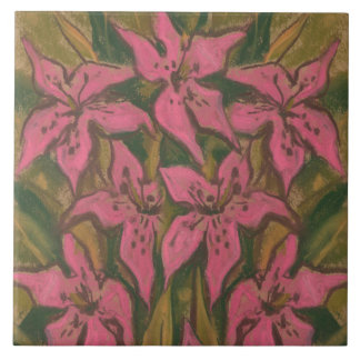 Pink Lilies, pastel painting, flowers, floral art Tile