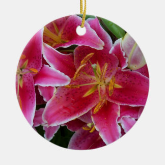 Pink Lilies with Water Droplets Ornament