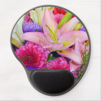 Pink lily and dahlia floral print mousepad gel mouse pad