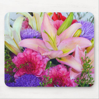 Pink lily and dahlia floral print mousepad