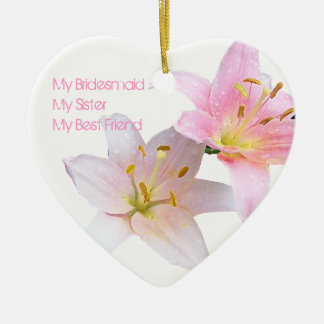 Pink Lily Bridesmaid Ceramic Heart Decoration