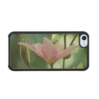Pink Lily Carved® Maple iPhone 5C Slim Case