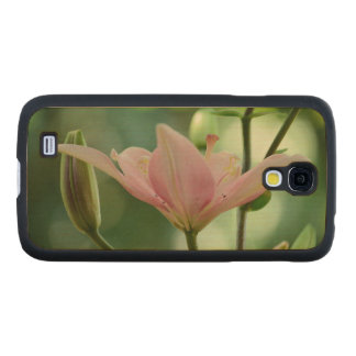 Pink Lily Carved® Maple Galaxy S4 Slim Case