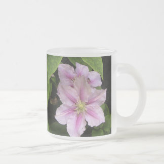 Pink Lily ( Clematis) Frosted Glass Style Frosted Glass Mug