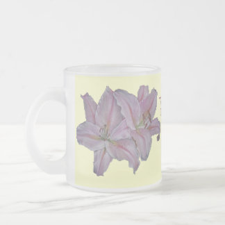 Pink lily flowers realist floral art painting frosted glass mug