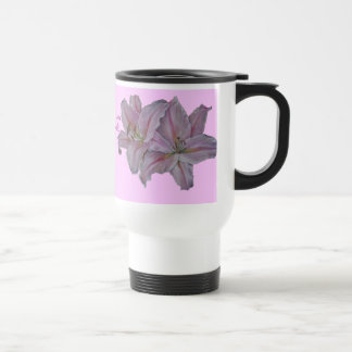 Pink lily flowers realist floral art painting mom stainless steel travel mug