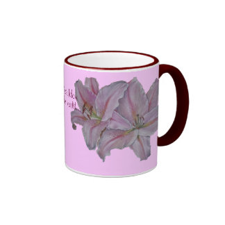 Pink lily flowers realist floral art painting mom ringer mug